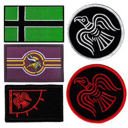 Wholesale Vikings Flag - 50 PCS Vinland Viking Flag Patch Emblem Tactical Hook & Loop Army Embroidery Badge Morale Embroidered Patch Appliques Wholesale free ship