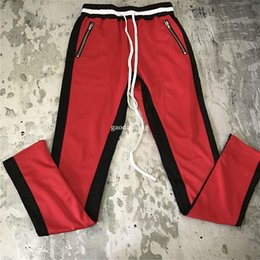 Wholesale Basketball Pencil - Zipped Ankle Fear Of God Track Pants 2017 High Quality Vintage Basketball Contrast Striped Jogger Free Shipping