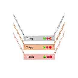 Wholesale red birthstone - Crystal Mommy Mom Nana Birthstone Horizontal Bar Necklaces with silver rose gold Chain for Women Family Jewelry DROP SHIP 162225