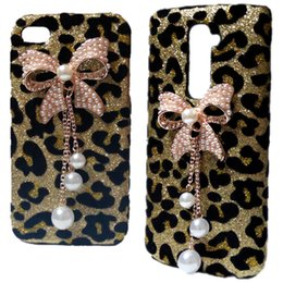 Wholesale Leopard S3 - Bling Gold Leopard Pearls Rhinestones Bow Hard Back Case Cover for iPhone 4S 5C Galaxy S3 S4 I9500 S5 S6 Edge Huawei Honor 7 P8 Lite P9 Lite