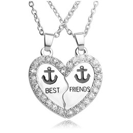 Wholesale Anchor Necklace Set - Fashion Pendants Necklace BEST FRIENDS Enamel Anchor Rhinestone Heart Charms Necklace Jewelry Set For Friend Gifts