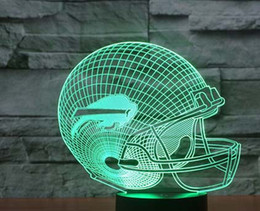 Wholesale Night Baseball - 2pc 2017 New 3D Night Light Touch Button Colors Change LEDTable Lamp Gift Mix Order Custom Any LED College Football Baseball Fan Light A39