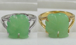 Wholesale 18k Jade Ring - Wholesale cheap fancy lady's carved green jade elephant 18 KGP ring