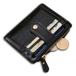 Wholesale Pure Leather Wallets - Wholesale- Quality Assurance pu leather card wallet with zipper pocket casual small wallet mini pure man hasp credit card holder