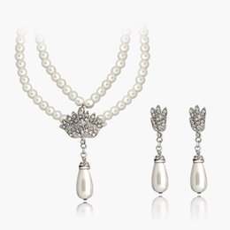 Wholesale Twisted Pearl Rhinestone Necklace - Multilayer Beads Chain Romantic Choker Necklace Simulated Pearl Necklace and Earring Sets Fashion Jewelry DHL Free Shipping
