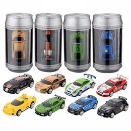 Wholesale Car Remote Control Frequency - 20KM H Coke Can Mini RC Car Radio Remote Control Micro Racing Car 4 Frequencies Toys with Road Blocks