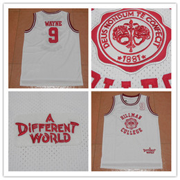 Wholesale Newest Movies - 2017 Newest 9 WAYNE Hillman College Movie 1881 A Different World White College Jersey Retro Basketball Jerseys Stitched ON For Sale