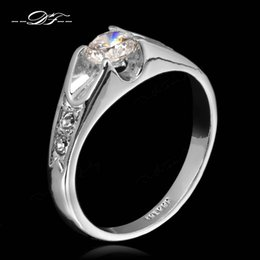 Wholesale Diamond Zircon Crystal Rings - High Quality CZ Diamond Wedding Rings Silver Color Platinum Plated Cubic Zircon Crystal Engagement Jewelry For Women Lady Wholesale DFR110