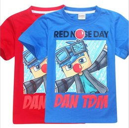 Wholesale Boys 14 Shirt - New 6-14 children cute cartoon 2017 hot sales ROBLOX red nose child baby short-sleeved shirt to wear summer Tees