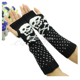 Wholesale Skull Arm - Wholesale- 1 PC Hot Women Skull Knitted Wrist Arm Long Fingerless Mitten Winter Gloves Soft Warm Christmas Gifts