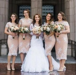 Wholesale Satin Column Bridesmaid Dress - 2017 New Tea Length Short Bridesmaid Dresses Champagne Elegant Short Sleeves Lace Appliques Maid Of Honor Gowns Sheath Wedding Party Wear