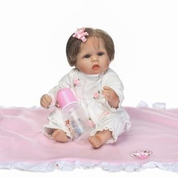 Wholesale China Vinyl Dress - 17inches lifelike Silkworm reborn baby soft silicone vinyl real touch doll lovely newborn baby white dress bonecas