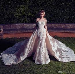 Wholesale Strapless Wedding Dresses Detachable - Modest Vintage 2017 Lace Wedding Dresses With Detachable Train Sheath Strapless Lace Appliques Organza Bridal Gowns Country Wedding Dress