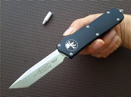 """Wholesale Steel Knife Set - Microtech Scarab Executive double action OTF S E automatic Knife (3.5"""" Satin) 176-4 Drop   Tanto Point D2 steel aluminum handle knives"""