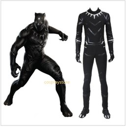 Wholesale Black Star Cosplay - 2017 Cosplay Costume Black Panther Roleplay Captain America 3 Civil War Men's Jumpsuit Custom Made