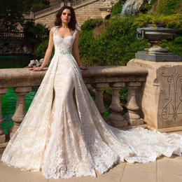Wholesale Detachable Train Mermaid Wedding Gowns - Robe De Mariee 2017 New Champagne Mermaid Wedding Dresses With Detachable Train Bridal Gowns Plus Size 2017 Wedding Dress