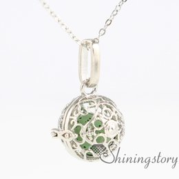 Wholesale Essentials Girls - heart ball metal volcanic stone essential oil necklace girls locket engravable lockets aroma pendants openwork necklaces