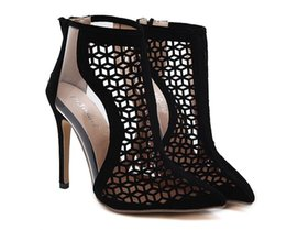 Wholesale Stiletto Heels Sale - Hot sale New high heels sandals shoes woman fashion High quality cut-outs mesh star ladies sexy stiletto pointed toe shoes black