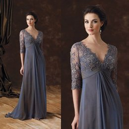 Wholesale Lace Modern Bride - Elegant V-Neck Mother of the Bride Dresses Chiffon Three Quarter Sleeves Appliques Beads Evening Party Gown 2017 Custom Made