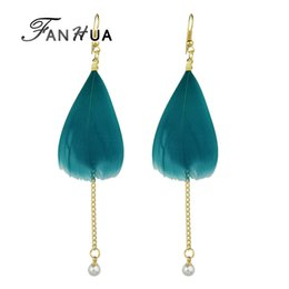Wholesale Pink Feather Chandelier - FANHUA Bohemian Style Gold-Color Chain with Simulated-pearl Colorful Feather Drop Earrings for Women Wedding Jewelry