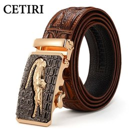 Wholesale Buckle Jeans For Men - Luxury Mens Alligator Embossed Plaque Buckle Cowskin Genuine Leather Ratchet Belt 3D Crocodile Pattern Jeans Belts For Men