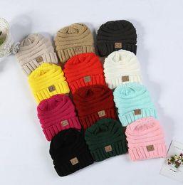 Wholesale Skull Hooded - Kids CC Hats Baby Winter Knit Hats Warm Hoods Skulls Hooded Hat Warm Cap Warm Knit Knitted Ski Hat Crochet Beanie KKA2859