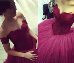 Wholesale Tops Special Occasions Girls - 2016 New Burgundy Quinceanera Dresses Off Shoulder Lace Top Ball Gown Princess 16 Sweet Girls Prom Party Special Occasion Gowns Cheap Custom