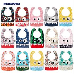 Wholesale Cute Infant Towel - 15 Styles INS Big Eye Monster Bibs With Cute Teeth Baby Bibs Soft Infant Saliva Towel Toddler Absorbent Dribble Burp Cloth CCA7216 50pcs