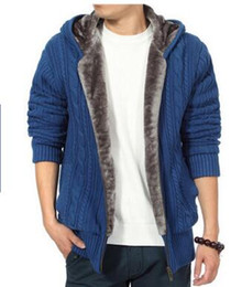Wholesale Korean Men Hooded Sweater Jacket - Wholesale-Hot New Men Thickened Add Cashmere Sweaters,winter Cotton Jackets, Hooded Sweaters, Cardigan, Korean Version Of The Warm Coat