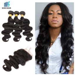 weave bundles three part closure Promo Codes - Brazilian Body Wave Hair 3 Bundles With Lace Closure Cheap Color 1B Black Virgin Human Hair Weave Free Middle Three Part Closure