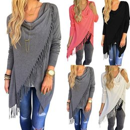 Wholesale Women Stylish Blouse - 8 Colors Tassel Knitted Blouse Stylish Loose Sweater Woman Irregular Collar Fashion Long Sleeve Cardigan Casual Outwear Jacket CCA7378 30pcs