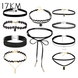 Wholesale Chain Sets For Women - 17KM 10 PCS Set New Gothic Tattoo Leather Choker Necklaces Set for Women Hollow Out Black Lace Necklace Jewelry Collier Chain