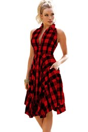 Wholesale Two Tone Knee Length Dresses - Red Black two tone Denim Checks Flared Shirt dress 2017 Modest Summer Holiday Beach Party Women's Occasion Dresses Gown