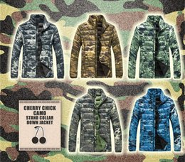 Wholesale Weight Slimming Clothes - Men's Ultralight Camo Down Jacket STREET FASHION Camouflage Hiking Camping Clothing Travel Light Weight Coat (Water-resistant Fabric)