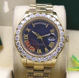 2019 relógio de pulso incrível Incrível Azul Dial Mens Data-Date 2 II 41 MM Presidente 18 k Ouro Amarelo Maior Diamante Mecânico Automático Dos Homens Relógios dos homens Esporte Relógios De Pulso desconto relógio de pulso incrível