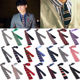 Wholesale Tie Slim Cravate - Hot New 2017 Fashion Male Brand Slim Designer Striped Knitted Men Neck Ties Cravate Narrow Skinny Neckties For Men Cheap