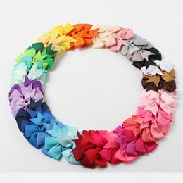 fine leather accessories 2018 - Children Ribbon Bowknot Clips, Solid Butterfly Bowknot Bowknot, Hair Bowknot, Fine Hair Accessories Girl Hairpin 40 Color Selection