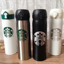 Wholesale mug packaging - 450ml Capacity Black White Pink Starbucks Stainless Insulated Coffee Mug with Nice packaging box