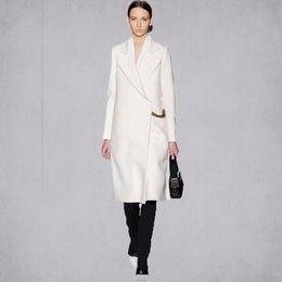 Wholesale Winter Coat Styles Women - style New 2017 Fall   Winter Women Simple White Woolen Cashmere Long Coat Maxi Female Overcoat Casacos Manteau femme