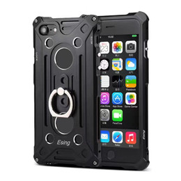Wholesale Aluminum Iphone Logo - For iphone 7 7plus 6 6plus Metal Cases Hard Aluminum Defense Shock Proof Mobile Cell Phone Cases Cover With Hole See Logo With Stand Ring
