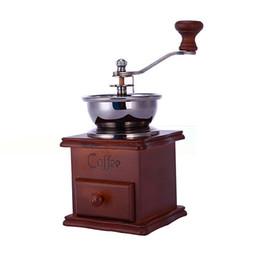 Wholesale Hand Grinders Coffee - Kitchen DIY Mini Manual Hand Coffee Grinder, Manual Ceramic woodiness Coffee Grinder Ceramic core Stainless Steel Burr grinder