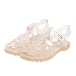 Wholesale Sew Crystals Buttons - 2017 summer new fashion retro crystal thick with transparent plastic Women sandals T-Roman sandals jelly Women shoes sandals A75202