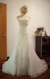 Wholesale Empire Waist Strapless - Real Images Mermaid Lace Wedding Dresses 2017 Strapless Empire Waist Bow Sweep Train Plus Size Bridal Gowns Custom Made SM002