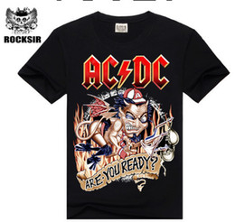 Wholesale Wholesale Hooded T Shirts - Wholesale- 2015 New design High Quality 100% cotton Metallica Rock band men T-shirt fashion street hip hop t shirt AC DC t-shirt for men