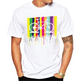 Wholesale Bicycling Sleeves Design - Wholesale- 2017 Fashion Men's Rainbow Bicycle Design T Shirt Male Cool Tops Hipster Printed Summer Tees