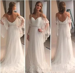 Wholesale Ladies Sexy Image - 2017 Elegant Lace Wedding Dresses Off Shoulder Spaghetti Straps Sheer Applique Bridal Gowns Bohemain Ladies Summer Beach Skirts