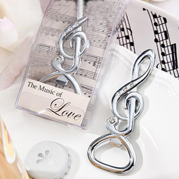 Wholesale Musical Notes Favors - 80PCS LOT The music of love Unique Wedding Favors Chrome Musical Note Bottle Opener beer opener wedding gift Free shipping