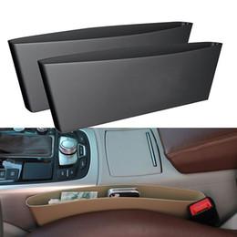 Wholesale Cars Caddy - 1Pair Car Storage Organizer Box Auto Gap Slit Pocket Catcher Holder Catch Caddy Seat Seam Plastic Phone Storage Box Beige Black