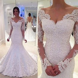 Wholesale Satin Wedding Robes - Modest Backless Country Wedding Dresses Mermaid 2017 Long Sleeve Beaded Lace Bridal Gowns Handmade Robe De Mariee Sirene