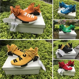 Wholesale Yellow Wrestling Shoes - BB0619 Yellow 2016 Pharrell Williams X NMD HUMAN RACE Shoes Top Quality REAL BOOST Bottom With Nipples mix 7 colors Men Running Shoes